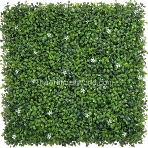 ULAND <strong>4pcs</strong> of Faux Boxwood Mat Privacy Fence Screen Greenery Privacy Panel with Small White Flowers 20″×20″ AGW-33