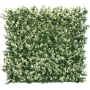 "ULAND <strong>4pcs</strong> of Artificial Boxwood Hedge Mat Faux Boxwood Privacy Fence Screen White Color 20""x20"" AGW-27"