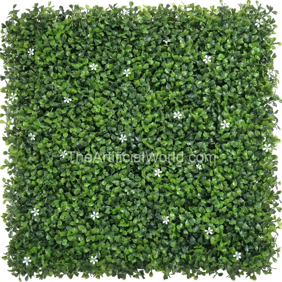 Faux Boxwood Panel with Small White Flowers | Artificial hedges ...