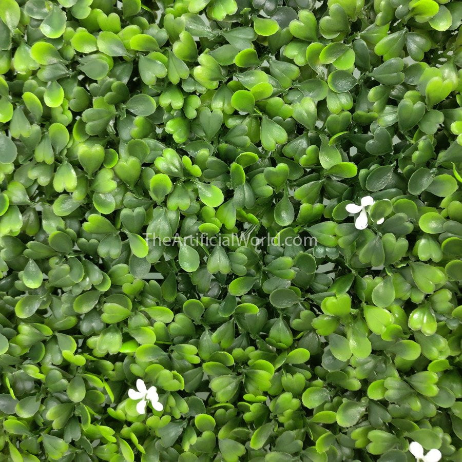 Faux Boxwood Panel With Small White Flowers Artificial Hedges