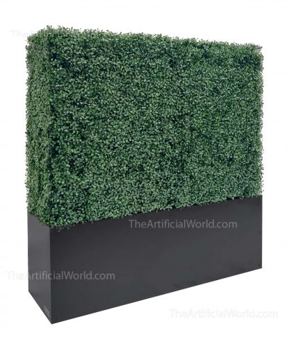 artificial boxwood hedge with planter box