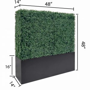 Faux Boxwood Hedge Divider Wall With Planter Box 48H