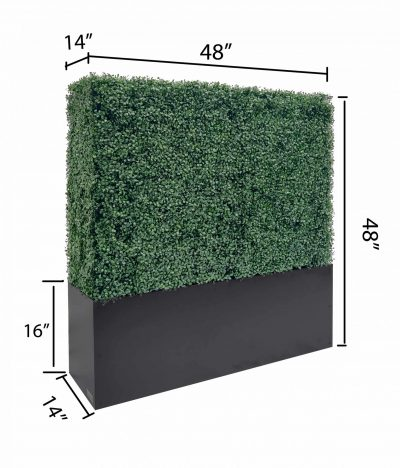artificial boxwood hedge with planter box size included