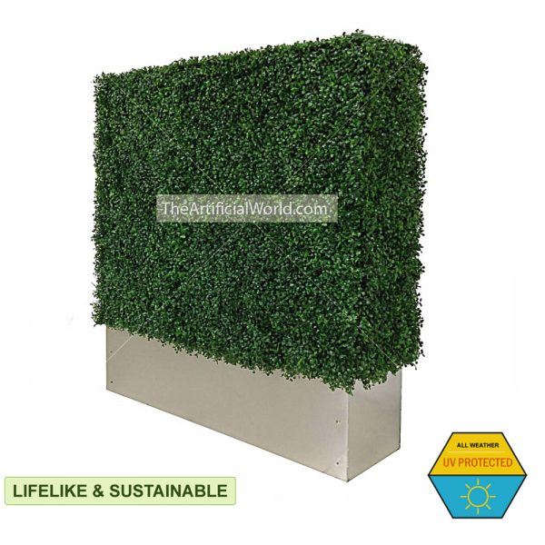faux boxwood hedge with planter box