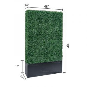 Faux Boxwood Hedge Divider Wall With Planter Box  79″H