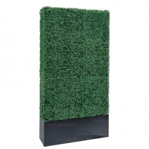 Faux Boxwood Hedge Divider Wall With Planter Box  96inches
