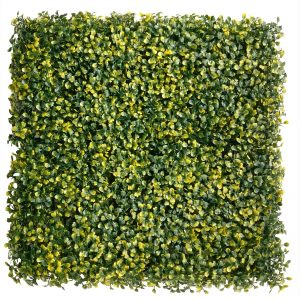 "ULAND <strong>4pcs</strong> of Artificial BoxULAND Boxwood Panels & Mat Faux Boxwood Privacy Fence Screen Yellow Green Color 20""x20"" AGW-28"