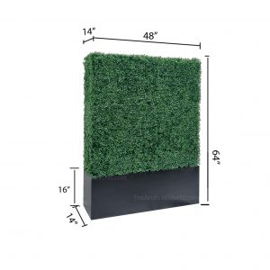Faux Boxwood Hedge Divider Wall With Planter Box 64 inches