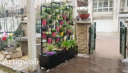 outdoor stainless steel movable plant shelf show