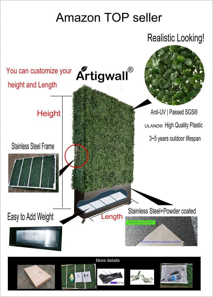 Artigwall artificial boxwood hedge detail