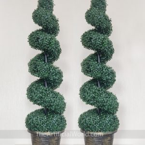 ARTIGWALL 2 PCS of Ultimate Height-adjustable Artificial Topiary Boxwood Spiral Tree 48 inches Height  In Plastic Pot