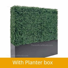 hedge wall with planter box