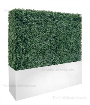 artificial boxwood hedge with white planter box 48 inches